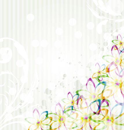 Illustration multicolor flowers background with transparency elements for design card. Vintage style  illustration