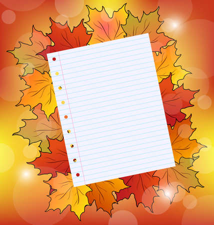 Illustration colorful autumn maple leaves with note paper illustration
