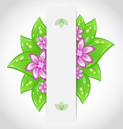 Illustration bio concept design eco friendly banner with green leaves and flowers  illustration