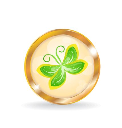 Illustration golden circle label  button  with butterfly illustration