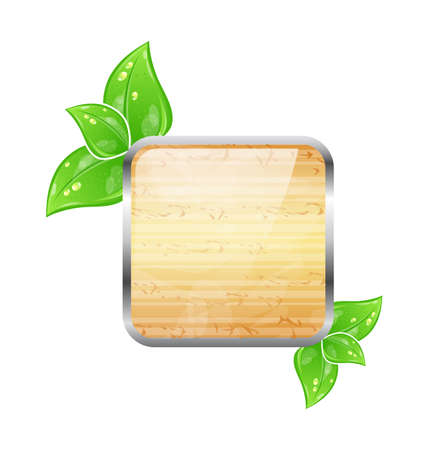 plywood: Illustration wooden square board with eco green leaves