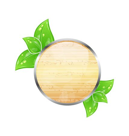 Illustration wooden circle board with eco green leaves Stock Illustration - 14492801