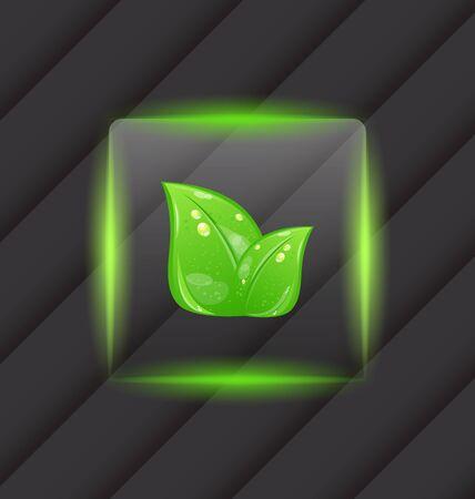 Illustration transparent frame with green leaves on striped background - vector illustration