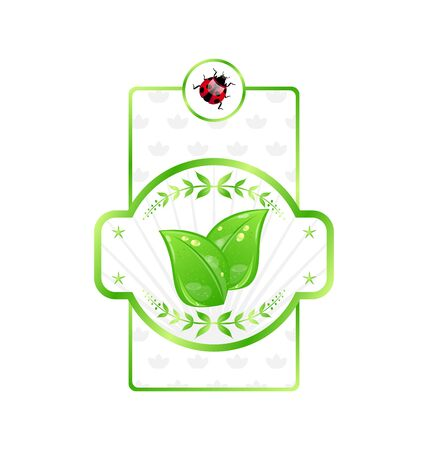 Illustration natural eco label with green leaves for packing product  Stock Illustration - 14492773
