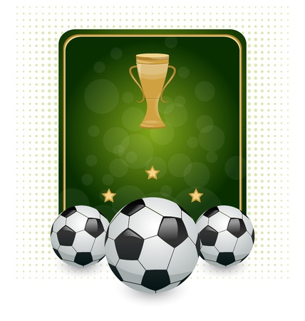 Illustration football layout with champion cup and place for your text  illustration