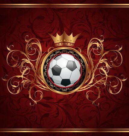 banni�re football: Fond de football Illustration avec une couronne d'or Banque d'images