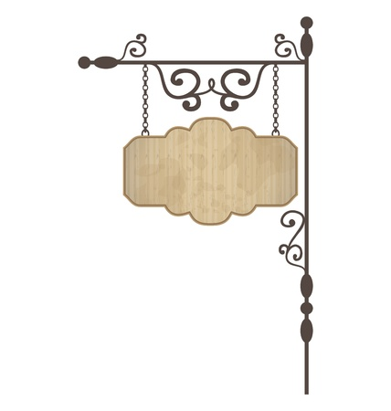 Illustration wooden noticeboard with floral forged elements  illustration