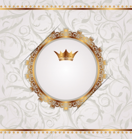 Illustration golden vintage with heraldic crown, seamless floral texture