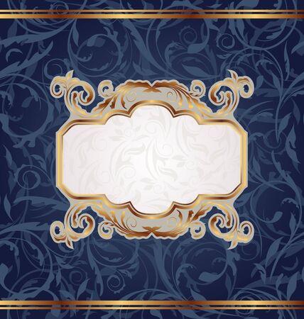 Illustration golden retro emblem, seamless floral texture illustration