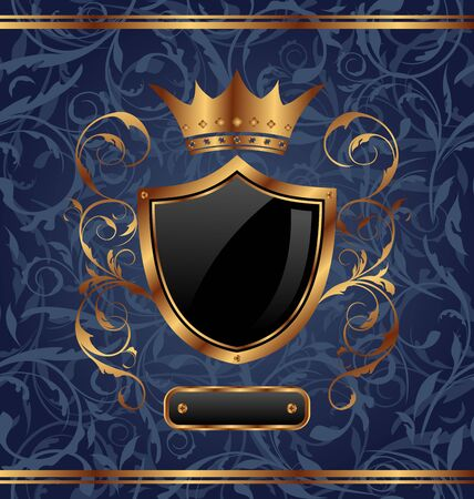 Illustration golden vintage with heraldic elements (crown, shield), seamless floral texture  illustration