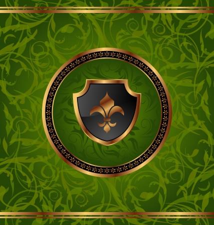 Illustration royal golden frame with medallion and fleur de lis for design packing  illustration