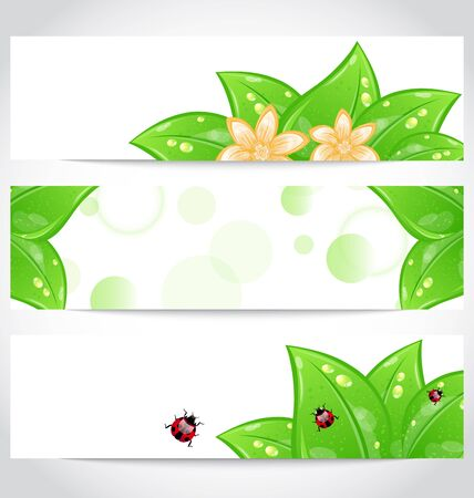 Illustration set of bio concept design eco friendly banners (2)  illustration