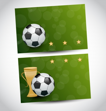 Illustration football cards with champion cup and place for your text  illustration