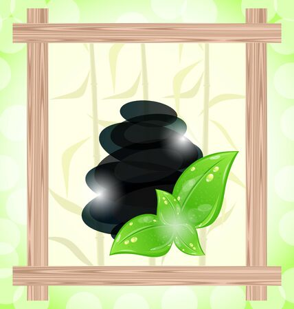 bamboo frame: Illustration meditative bamboo background with cairn stones and eco green leaves Stock Photo