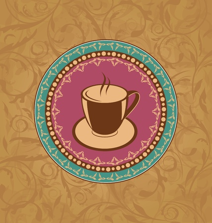 Illustration cute ornate vintage with coffee cup  illustration
