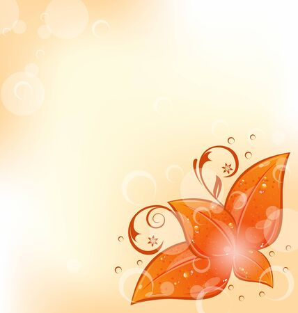 Illustration autumnal background with set orange leaves Stock Illustration - 15125410