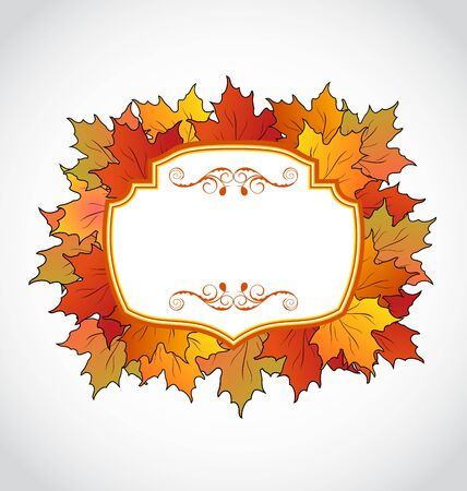 Illustration autumnal floral card with colorful maple leaves