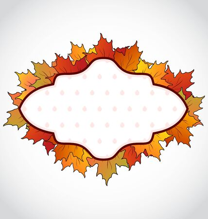 greening nature natural: Illustration autumnal card with colorful maple leaves Stock Photo