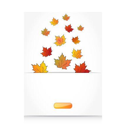Illustration fall maple leaves, autumn background