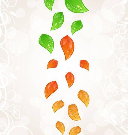 Illustration autumn seasonal nature background with flying changing leaves Stock Illustration - 15125373