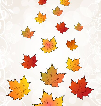 Illustration flying autumn orange maple leaves Stock Illustration - 15125341