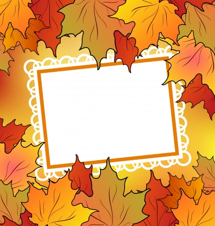Illustration autumn maple leaves with floral greeting card