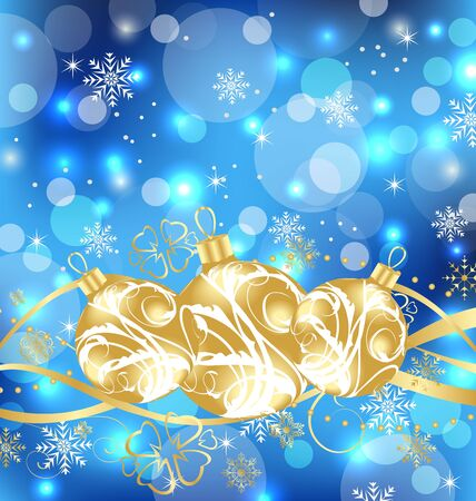 Illustration Christmas holiday background with golden balls Stock Illustration - 15125277