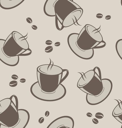 vivacity: Illustration seamless background with coffee cups and beans