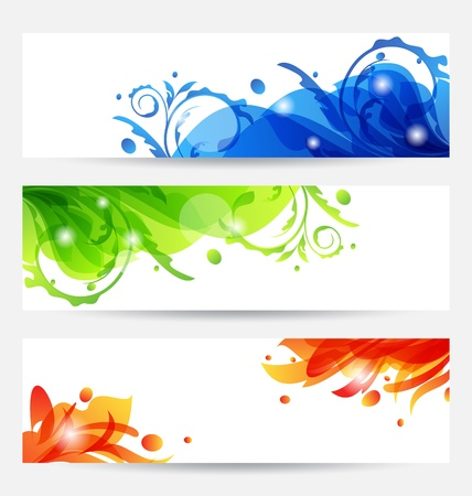 Illustration set brochure templates with flower frames Stock Illustration - 15125366