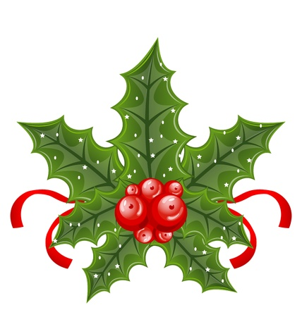 Illustration Christmas holly berry branches and ribbon isolated on white background