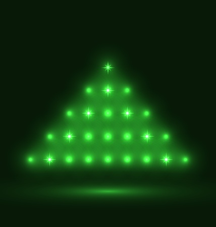 Illustration abstract glowing christmas tree on black background Stock Vector - 15387040