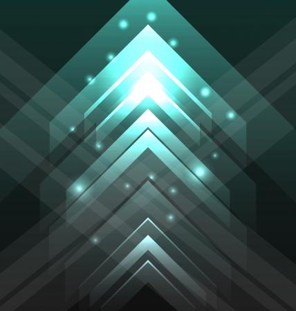 Illustratie abstracte tecno achtergrond met set transparante pijlen Stock Illustratie