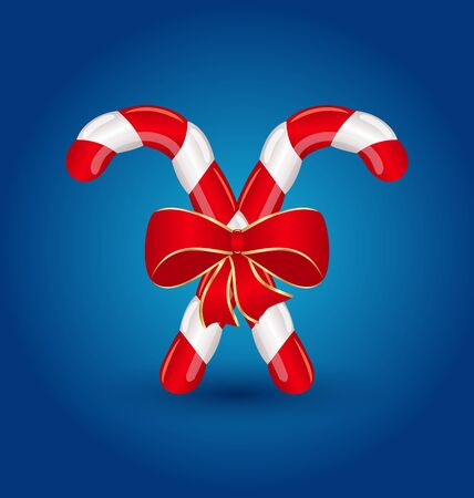 Illustration Christmas candy canes with red bow isolated Illustration