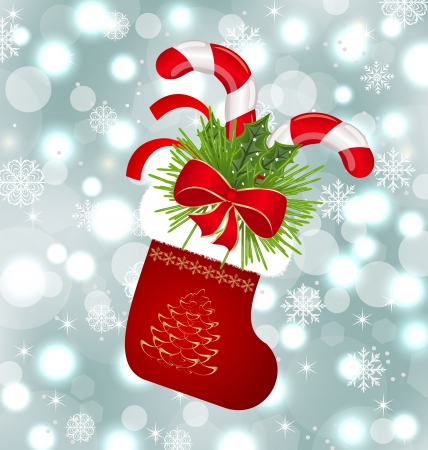 Illustration Christmas sock with sweet canes Vector
