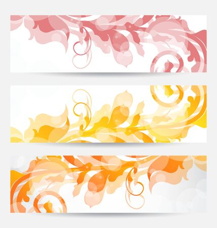 Illustration set floral templates with changing autumnal colors Stock Vector - 15386979