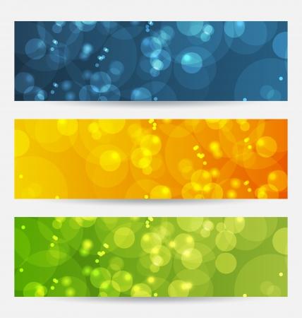 Illustratie set van abstracte achtergronden met bokeh effect Stock Illustratie