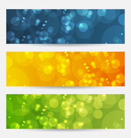 Illustration set of abstract backgrounds with bokeh effect Vector