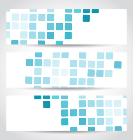 Illustration set blue mosaic tile cards