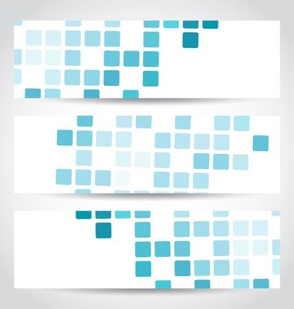 Illustration set blue mosaic tile cards