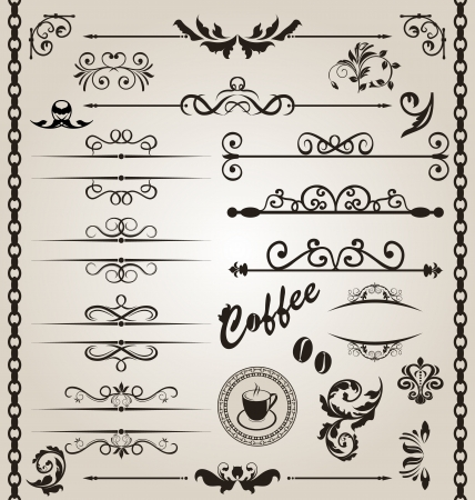 Illustration set floral ornate design elements Illustration