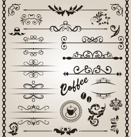 Illustration set floral ornate design elements Vectores