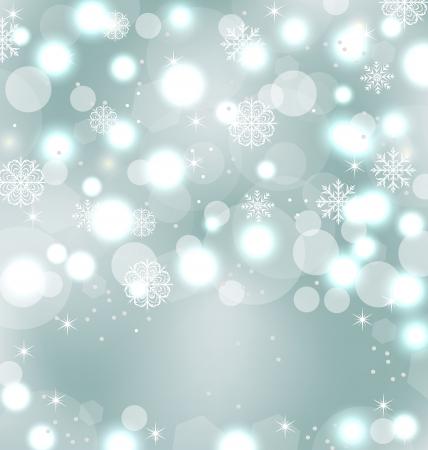 Illustratie Kerst leuk behang met schitteren, sneeuwvlokken, sterren