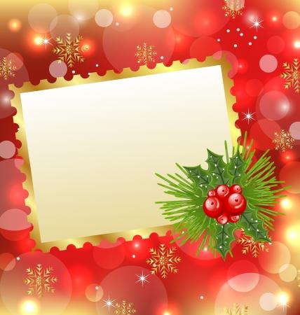 Illustratie Kerstkaart met maretak en pijnbomen