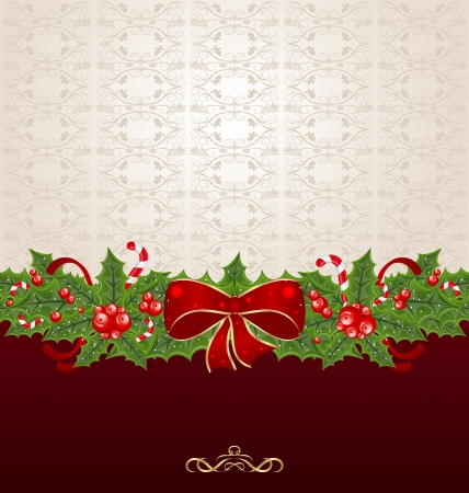Illustration beautiful Christmas background with mistletoe, bow and pine Vector