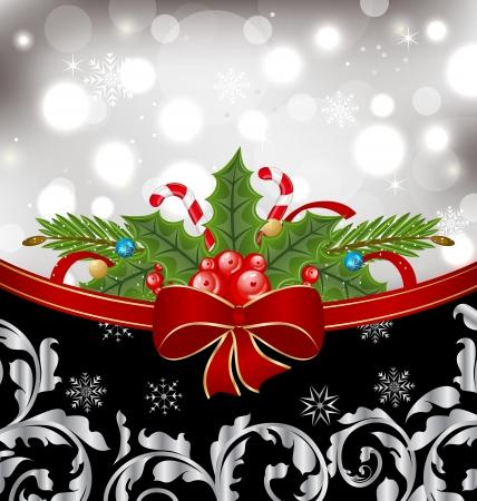 Ilustración de Navidad glowingl embalaje, elementos ornamentales de diseño