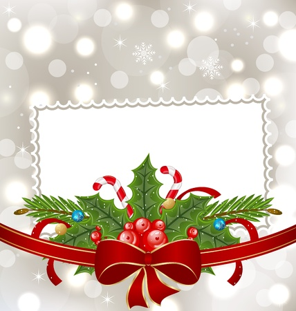 Illustration Christmas elegant card with holiday decoration Vector