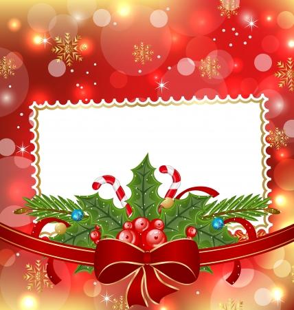 Ilustracja karty z pozdrowieniami eleganckie świąteczne dekoracje