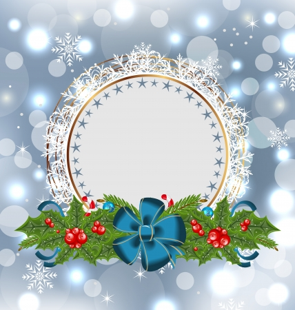 Illustration Christmas holiday decoration with greeting card Vector