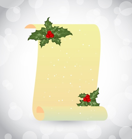 paper scroll: Illustration paper scroll with Christmas holly