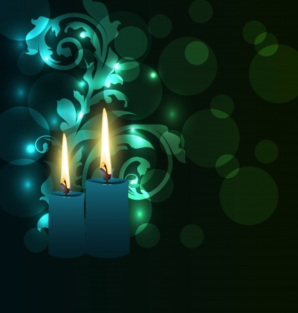 deepawali: Illustration greeting glowing card with candles for Diwali festival